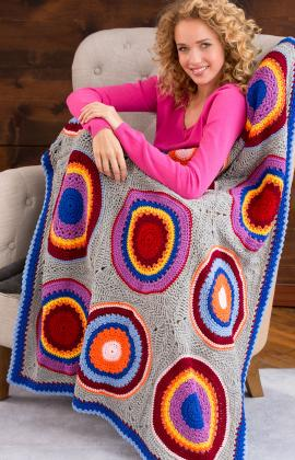 Circles into Squares Throw Crochet Pattern