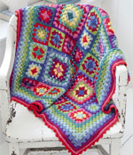 Crochet Rug with Granny Square Motifs