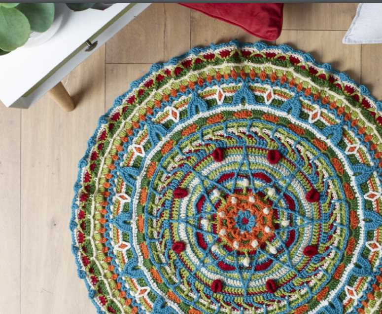 Pure Wool 8ply Mandala Rug ⋆ Crochet