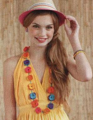 Crochet flower long necklace