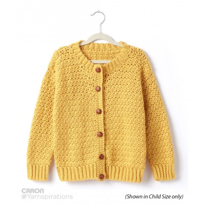 Adult Crochet Crew Neck Cardigan