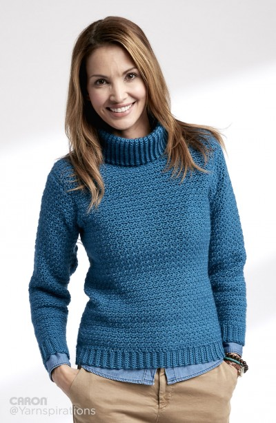 Adult Crochet Turtleneck Pullover Free Pattern ⋆ Crochet Kingdom