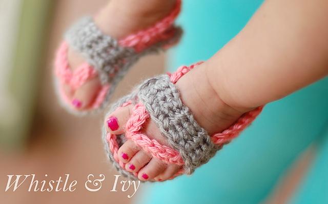 Baby Strap Flip-Flops Free Crochet Pattern