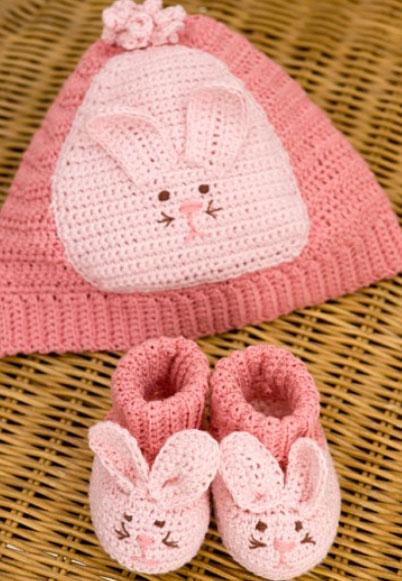 Bunny Hat & Booties Free Crochet Pattern