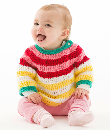 Colorful Striped Pullover Free Baby Crochet Pattern