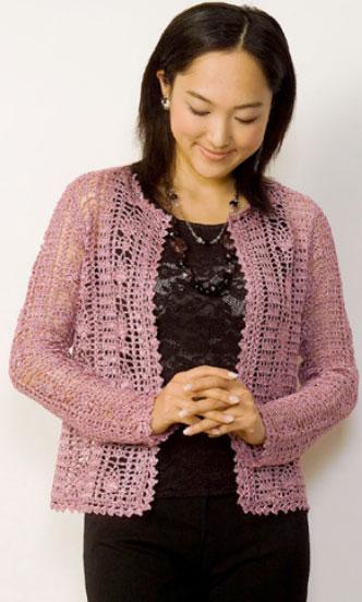 Lacy crochet cardigan free pattern