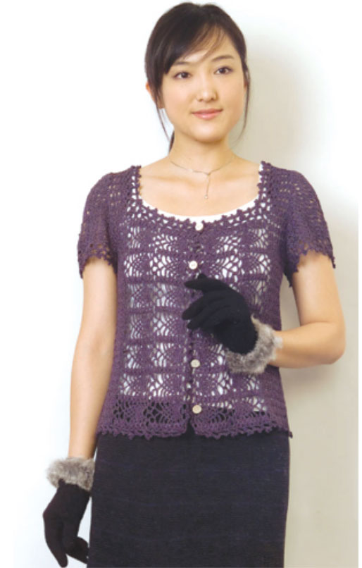patterned cardigan with pineapple motif free crochet