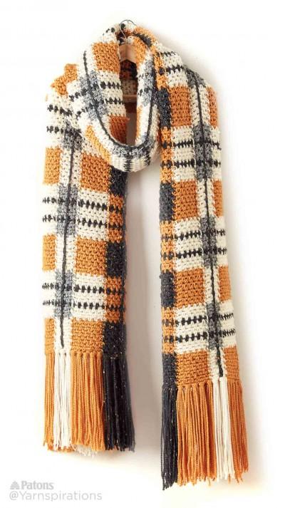 Patons Big Tartan Crochet Super Scarf Free Pattern ...
