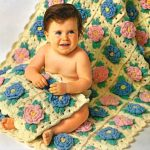 Bed Of Rose Baby Afghan & Pillow