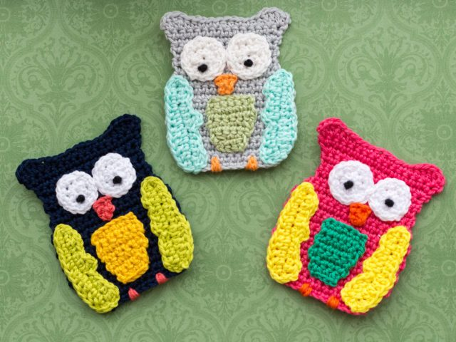 Big Owl Crochet Applique Free Pattern