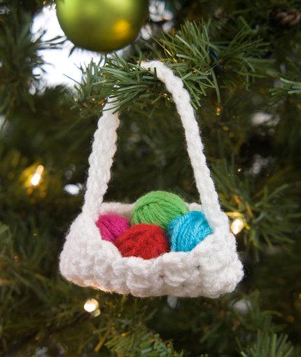 Crochet Basket Ornament Free Crochet Pattern