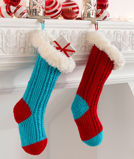 Fur Top Holiday Stockings Free Crochet Pattern Crochet Kingdom