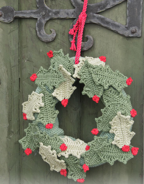 Open for Christmas! Holly Leaf Wreath Crochet Pattern