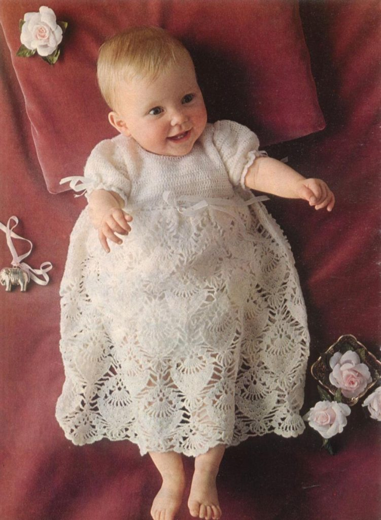 Pineapple Lace Crochet Christening Gown Pattern