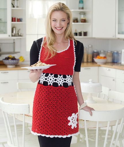 Snowflake Hostess Apron Free Crochet Pattern