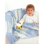 Textured squares with shell border crochet baby blanket