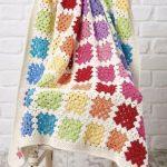 Rainbow Granny Black Baby Blanket Crochet