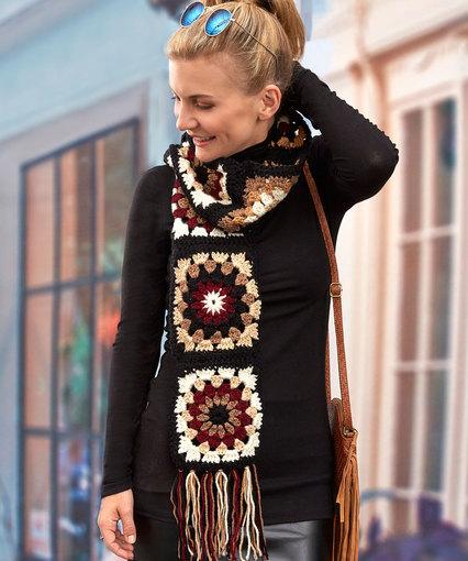 Granny Neutrals Scarf Free Crochet Pattern