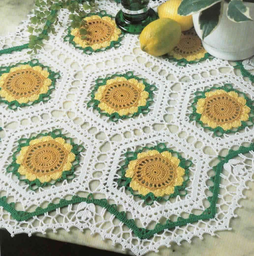 Seven Sunflowers Doily Crochet Pattern