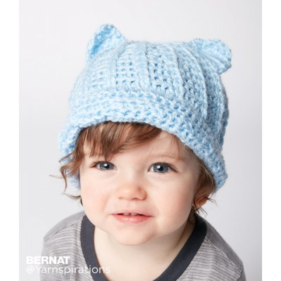 Bernat Baby Crochet Kitty Hat Free Pattern
