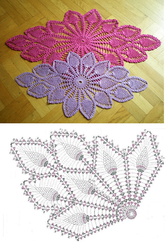 Diamond Oval Pineapple Doily Free Pattern Diagram ⋆ Crochet Kingdom