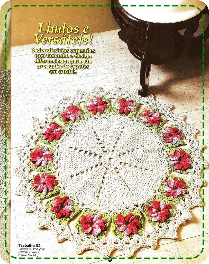 Round Doily Crochet Pattern with Flower Granny Squares