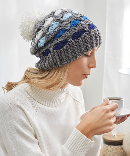 Striping Shells Hat Free Crochet Pattern