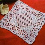 Square Crochet Doily with lace and Diamond motif