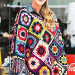 Crochet flower square poncho pattern