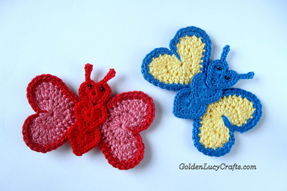Crocheted Hearts Butterfly