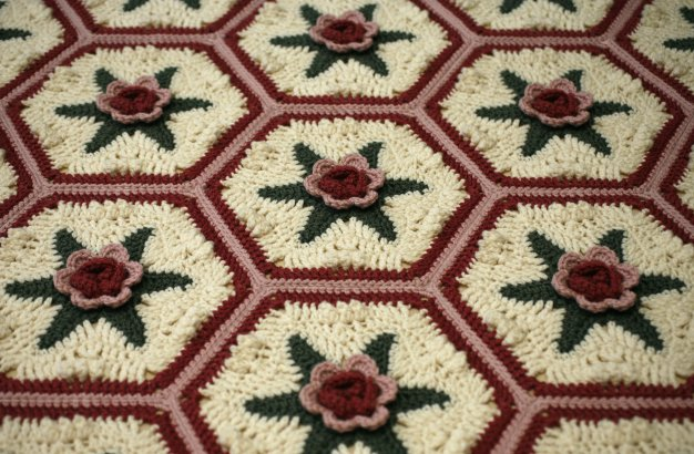 Malmaison Hexagonal Rosy Motif Free Crochet Pattern Crochet Kingdom