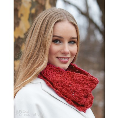 Patons Cluster Stitch Crochet Cowl Free Pattern
