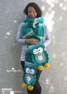 Bernat Owl Crochet Super Scarf Free Pattern