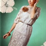 Linen corchet dress with openwork lace motifs