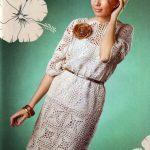 Linen corchet dress with openwork lace motifs