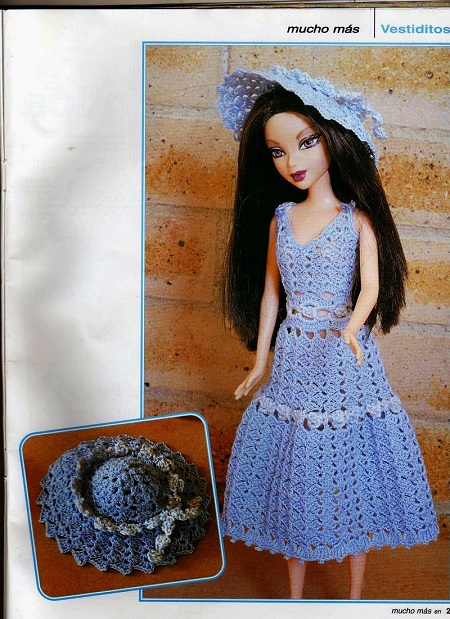 Romantic Crochet Hat And Dress For Barbie Crochet Kingdom