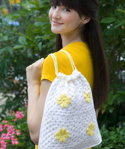 Daisy Drawstring Bag Free Crochet Pattern