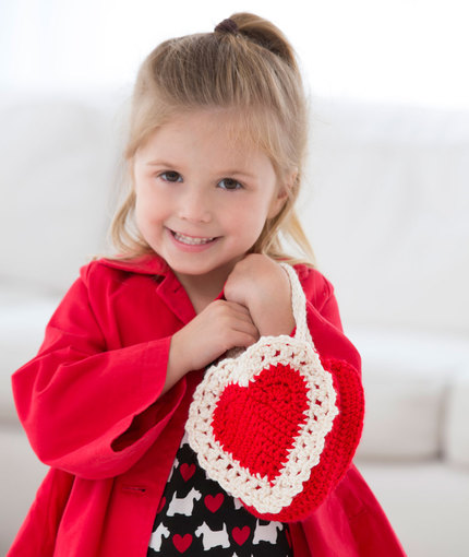 Here's My Heart Gift Bag Free Crochet Pattern for Girls