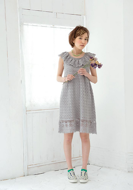 Beauty Silk Cotton Ruffle Dress Free Crochet Pattern