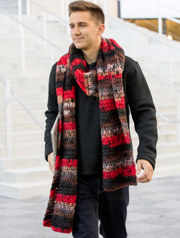 Chocolate Cherry Scarf Free Men's Crochet Pattern