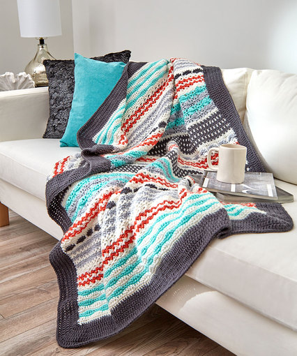 Inspired Stripe Throw Free Crochet Pattern