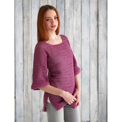 Mesh Top Free Easy Women's Sweater Crochet Pattern