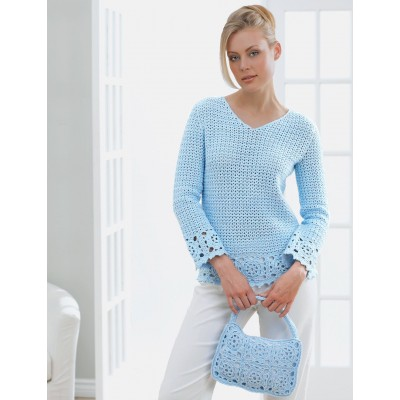 A delicate granny motif lines this stylish v-neck tunic and matching purse. Shown in Patons Grace.