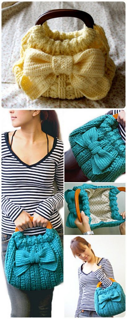 Ribbon Accent Bag Free Crochet Pattern