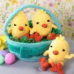 Three Chicks in a Basket Free Crochet Pattern
