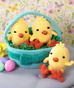 Three Chicks in a Basket Free Crochet Pattern