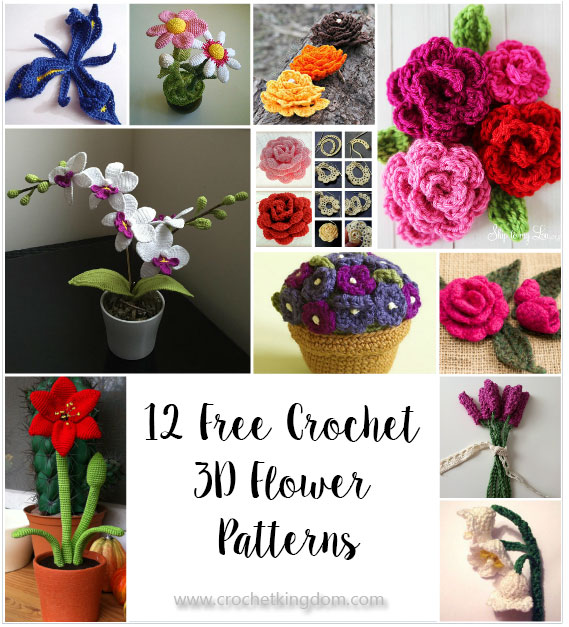 12 Amazing Free Crochet 3D Flower Patterns https://www.crochetkingdom.com