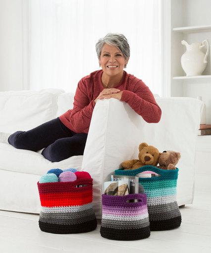 Ombré Crochet Baskets Free Crochet Pattern