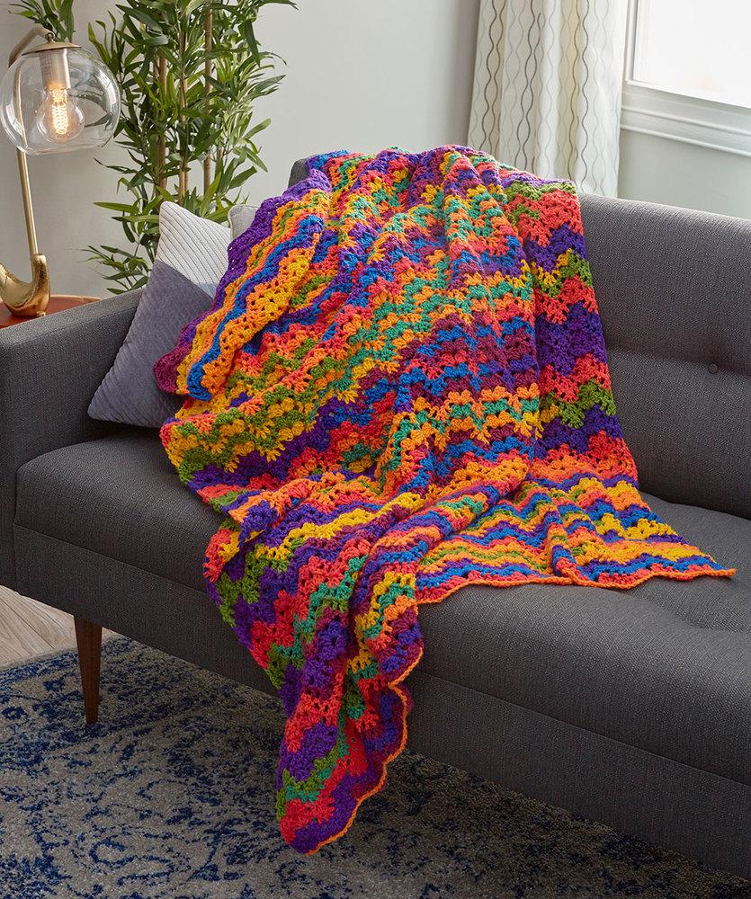 Vibrant Stripes Throw Free Crochet Pattern