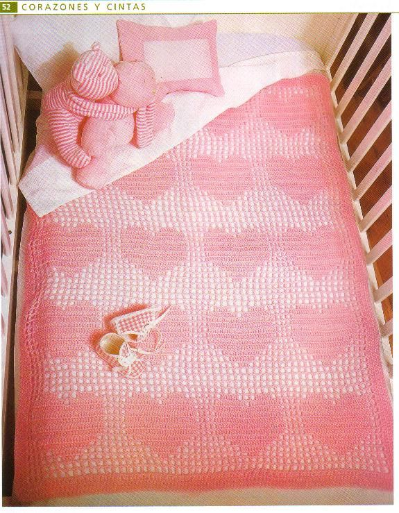 Crochet Hearts Blanket for Baby